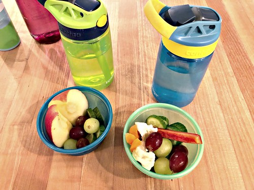 healthy kids' snacks and water bottles