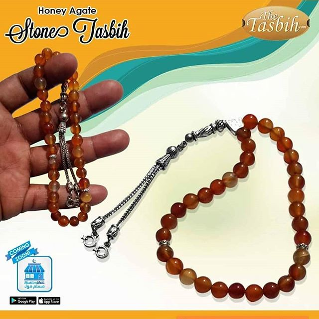 Natural Semi-precious Agate Stone Tasbih with Kızılay Charms
