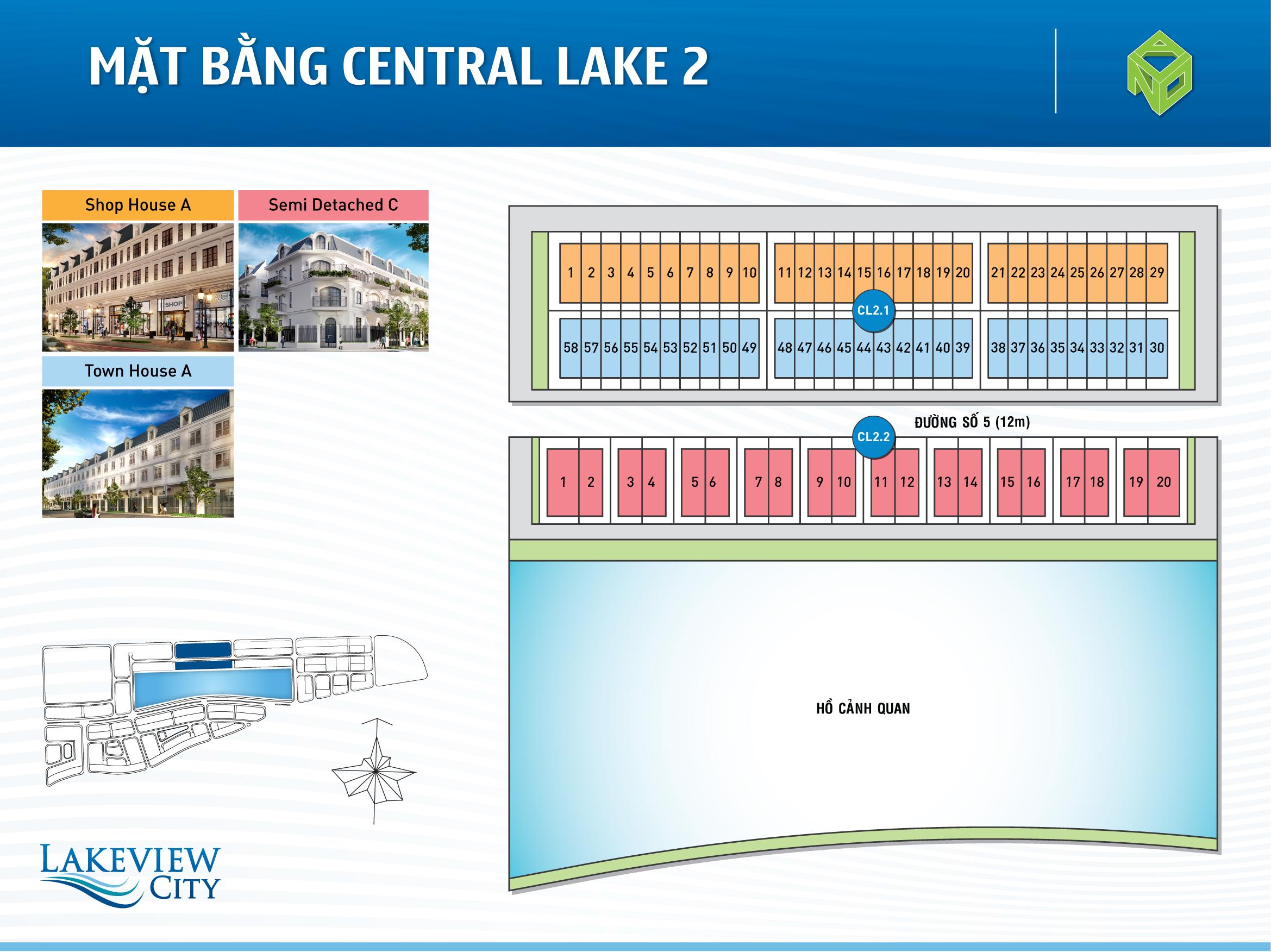 Mặt bằng Central Lake 2 dự án Lakeview