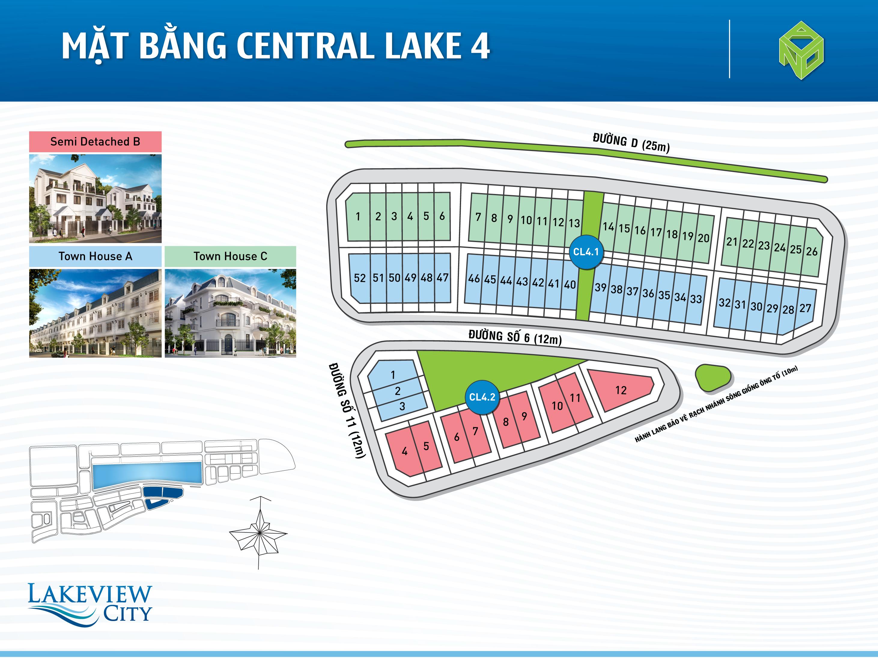 Mặt bằng Central Lake 4 dự án Lakeview City