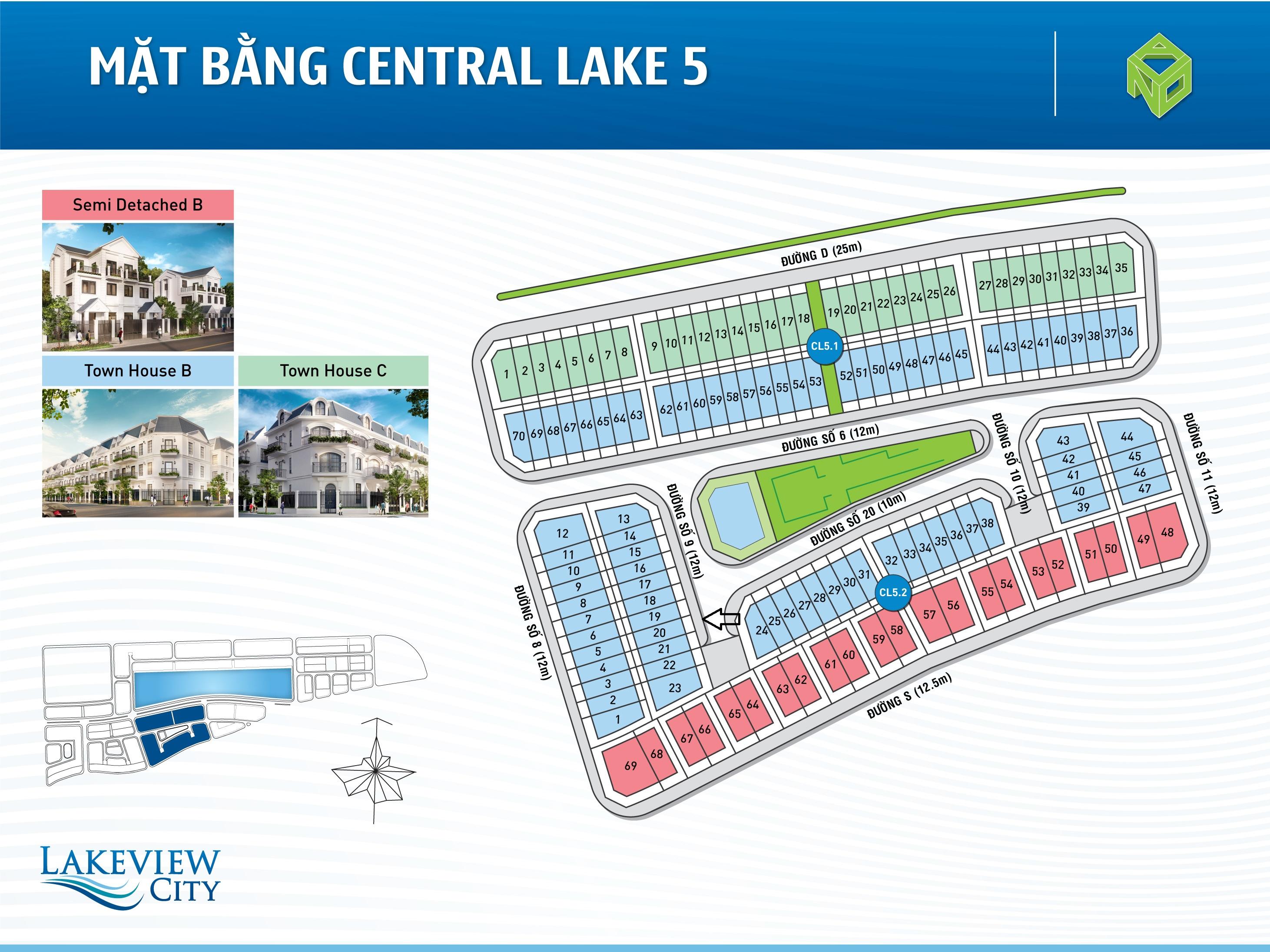 Mặt bằng Central Lake 5 dự án Lakeview City