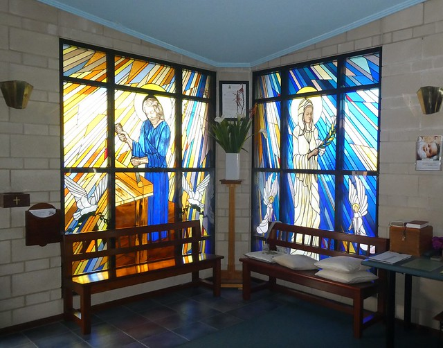 Port Lincoln stained glass windows in St Mary of the Angels Roman Catholic Church of 1986. Eyre Peninsula South Australia