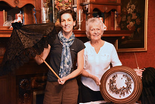 Tue, 10/01/2019 - 16:35 - Photo of Rozenn Bailleul-LeSeur and Sue Savard showing artifacts to be displayed at the Morgan-Manning House