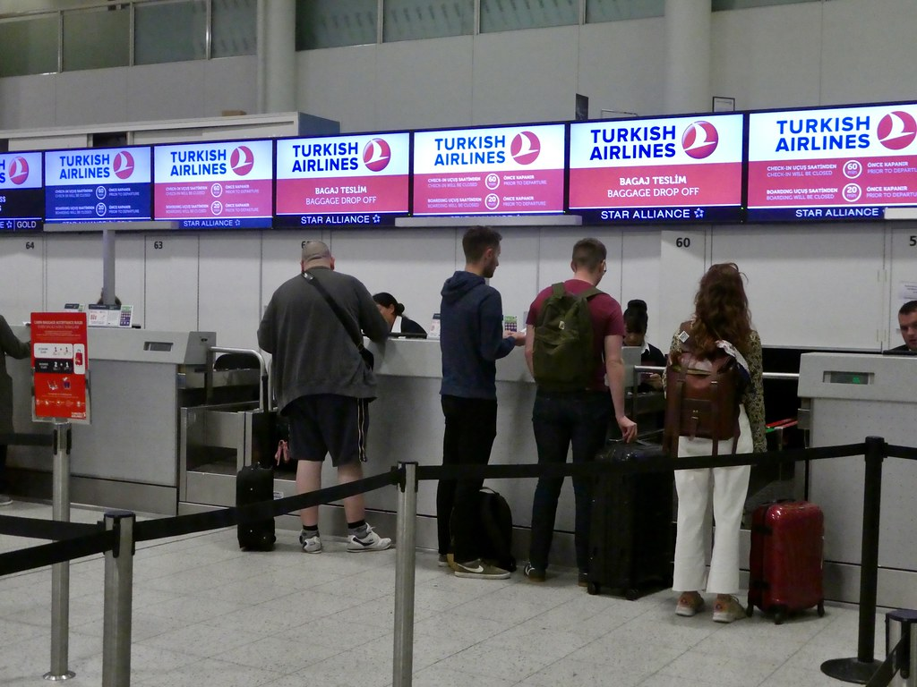 Turkish Airlines check-in desks, Gatwick Airport