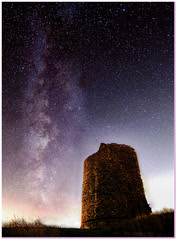 Hadleigh Castle, Essex, looking SSW. Milky Way in background.