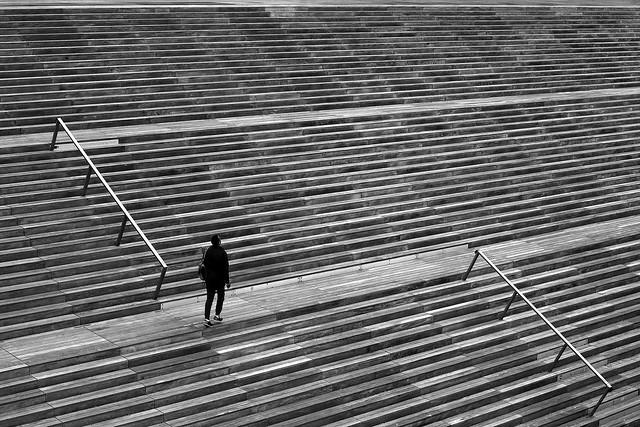 On the deserted steps