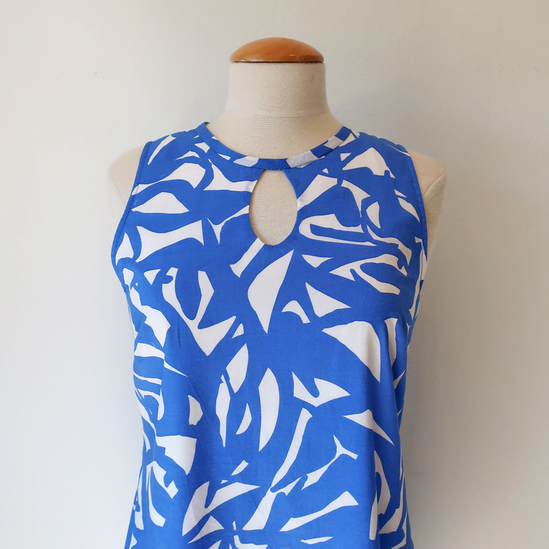 blue dress close up on form