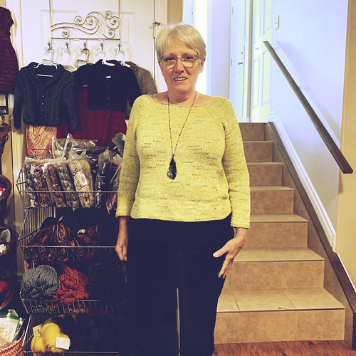 Trina's favourite pattern is Sunshine Coast by Heidi Kirrmaier! I think she is up to five - this one she knit using a beautiful shade of Rowan Tetra Cotton!