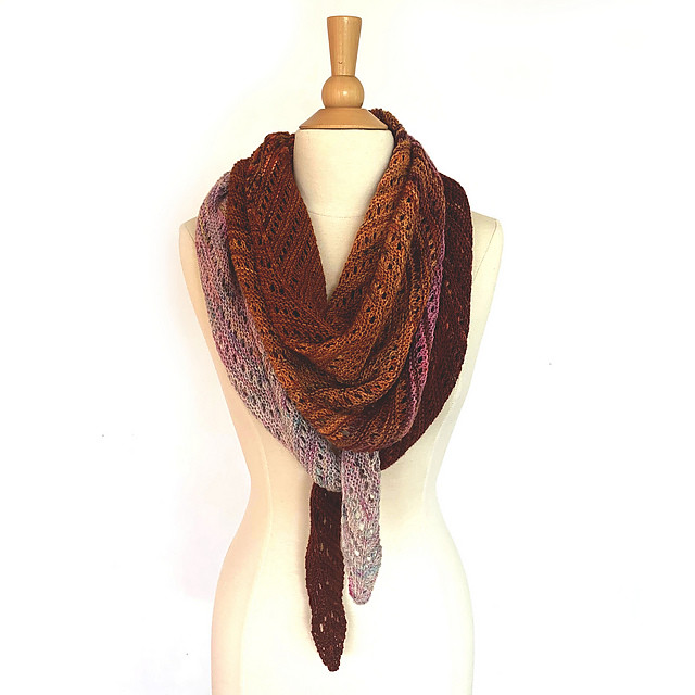 Do you love simple triangular shawls? Check out Ambah O'Brien's Venation Shawl. 20% off with code VENATION on Ravelry until October 14, 2019