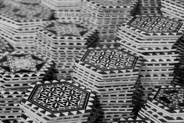 coaster, pattern and inlay