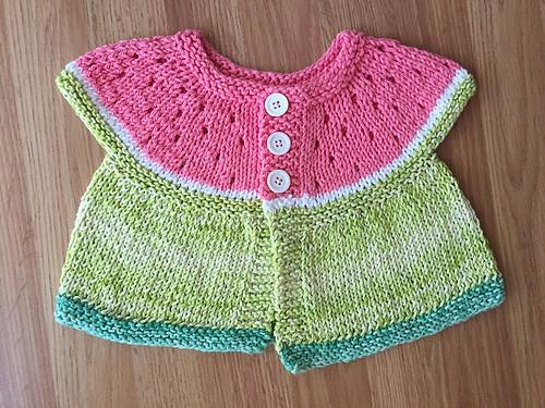 Christina's Watermelon Baby Cardigan by Stitchylinda Designs
