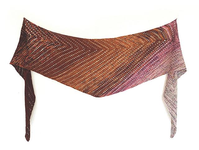 Venation Shawl by Ambah O'Brien - knit using Koigu Pencil Box
