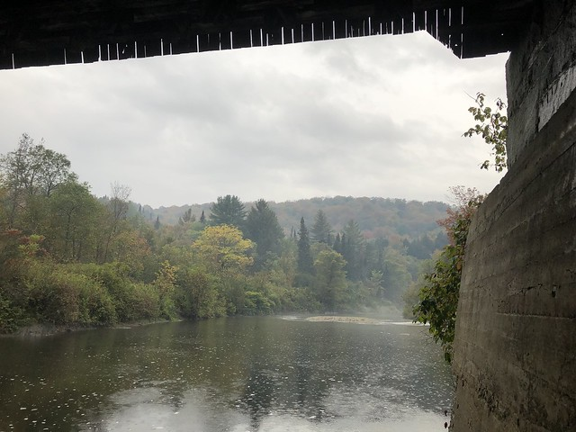 Standing Under The Fisher Covered Bridge On A Rainy Day