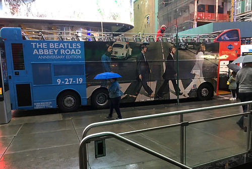 The Beatles, Abbey Road, Anniversary Edition, (Gray Line Tours), Double-decker, in Manhattan, New York, USA. October, 2019