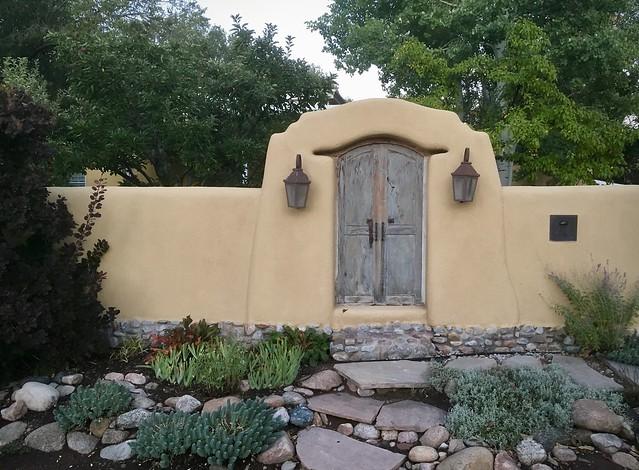 Delgado St. garden & door, Santa Fe.