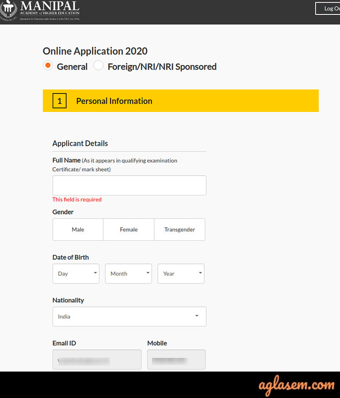 Manipal University Admission Form 2020