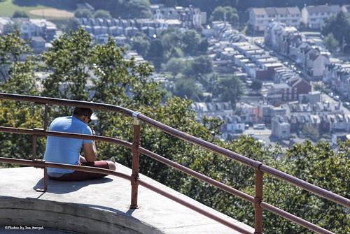 thethinkerortexter reading readingpa pennsylvania pa thepagoda pagoda view city below person man railing trees berkscounty