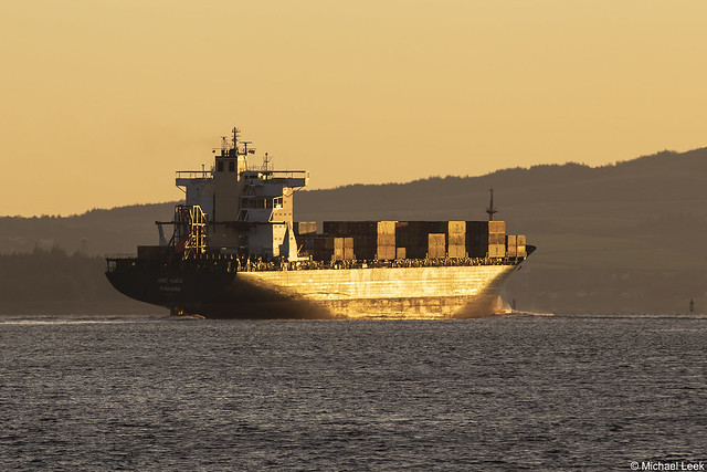 Panamania registered container ship MSC Suez, IMO8918978; Firth of Clyde, Scotland
