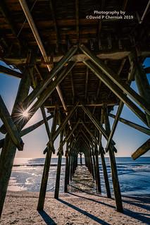 Sunrise Sunstar Blue Water and Sky Surf and Sand Under Pier 14 Restaurant & Lounge portrait shot (3344) Myrtle Beach, SC 9-24-2019.