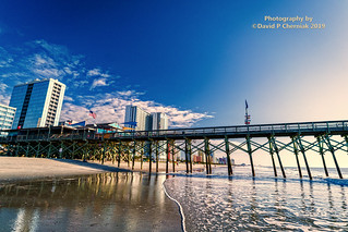 Sunrise Pier 14 Restaurant & Lounge Beach and Surf Reflections center Brand New Ocean Enclave by Hilton Grand Vacations owner (3356) Myrtle Beach, SC 9-24-2019.