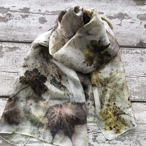 Eco printed silk scarves