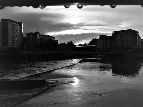 water droplets clouds silhouette reflections sunset monochrome leeds dock west yorkshire