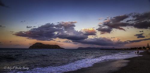 aegeansea crete greece hellas kreta plataniasbeach scenery sunset landscape sundown