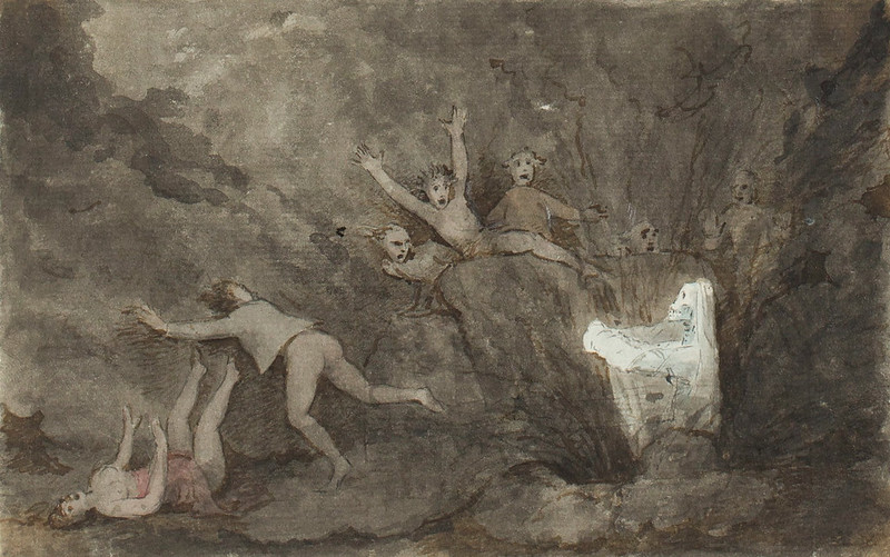 A ghost appearing to a group of figures
