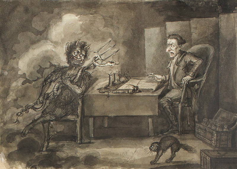 The Devil appearing to a seated man
