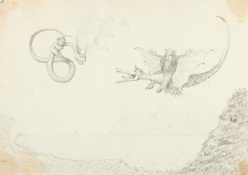 Crowned man riding a dragon and a man clinging to a flying se...