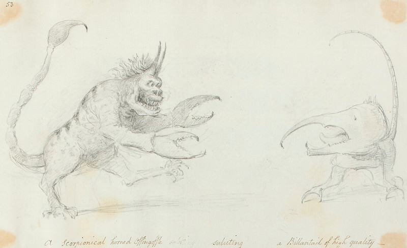 A Scorpionical horned Offingoffle saluting a Billantail of hi...