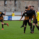Glenn Murison is congratulated after netting the third