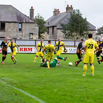 Ashley Ballam (17) fires in the opener for his first Huntly goal