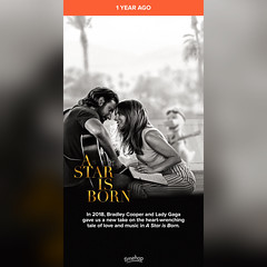 Timehop: A Star Is Born (2018 film) (10/05/19) #timehop #abe #warnerbrospictures #ladygaga #bradleycooper #astarisborn #astarisbornmovie #astarisborn2018 #musical #romantic #dramafilm