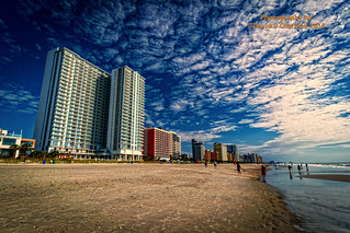 Stunning Sunrise and Reflections Finding Seashells Sand and Surf - Brand New Ocean Enclave by Hilton Grand Vacations owner ocean front  (3383) Myrtle Beach, SC 9-24-2019.