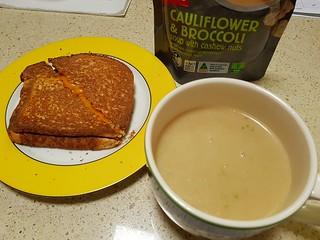 Coles Broccoli and Cauliflower Soup; Grilled Daiya Cheddar