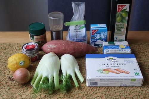 Zutaten für Lachs-Chowder mit Zitronen-Chili-Butter