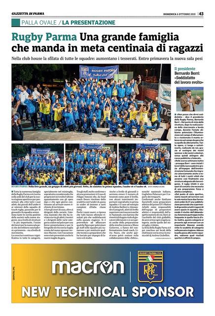 Gazzetta di Parma 06.10.19 - Presentazione RPFC