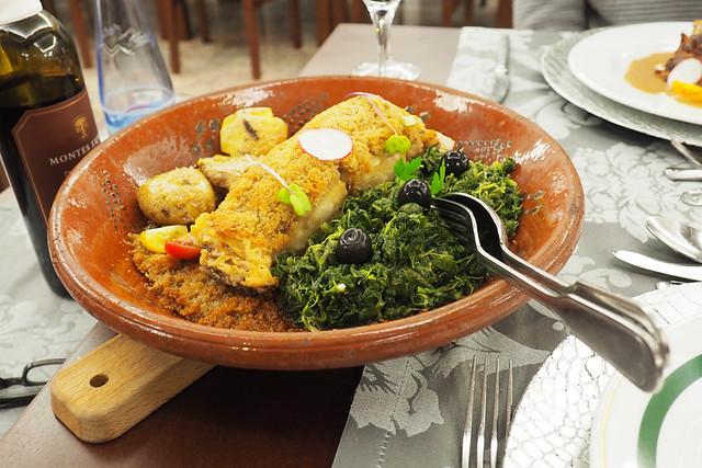 Bacalhau in a corn bread crust, Peneda Geres