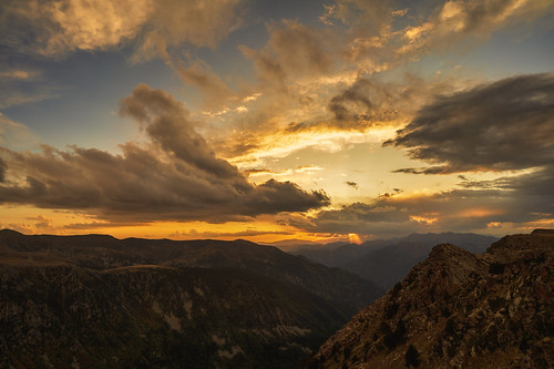pyrenees mountains clouds sky autumn andorra landscape scenery scenic valley sunset