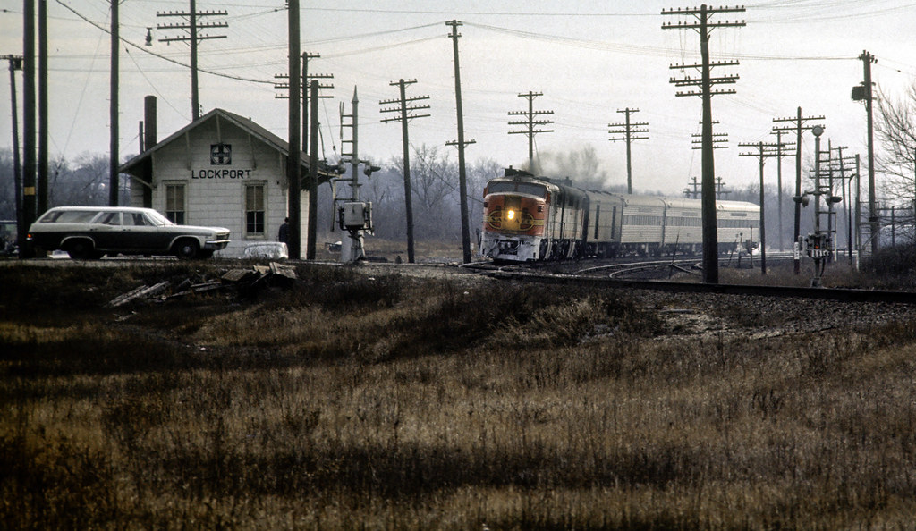 """""""With the end of PA power on Santa Fe's former Grand Canyon mere months away, train #24 rolls through Lockport, Illinois on a dreary day late in 1967."""""""