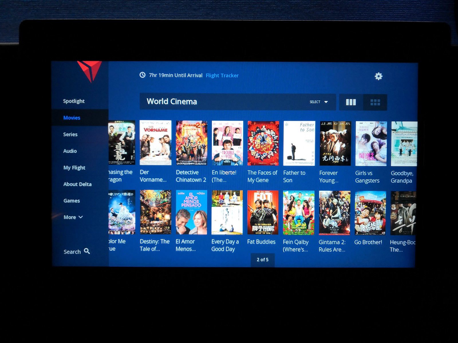 Inflight entertainment choices