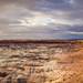 Panoramic view over the Little Painted Desert at Sunset, Badlands, Four Corners, Arizona, USA