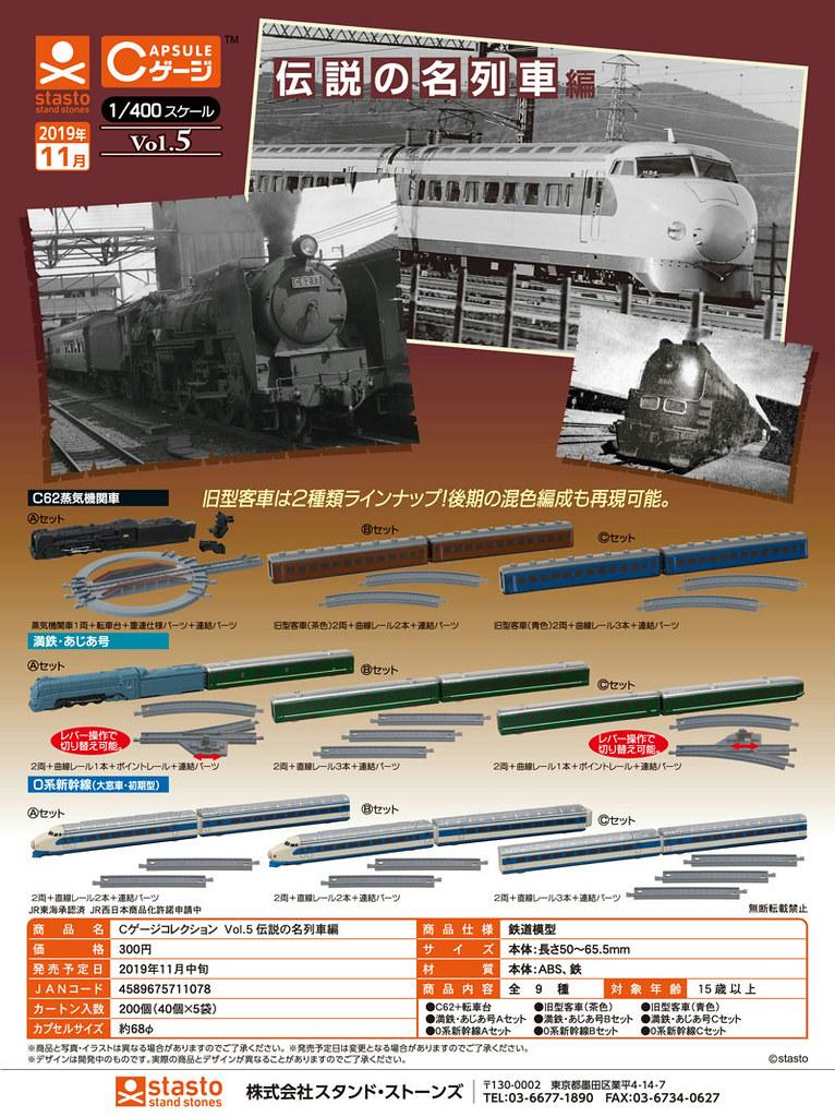 扇形車站之轉運台縮小了!stasto「CAPTURE GAUGE COLLECTION」火車轉蛋系列 VOL.5 傳說的名列車篇(Cゲージコレクション Vol.5 伝説の名列車編)