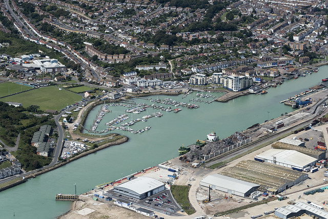 Aerial view of Newhaven and the river Ouse in East Sussex UK