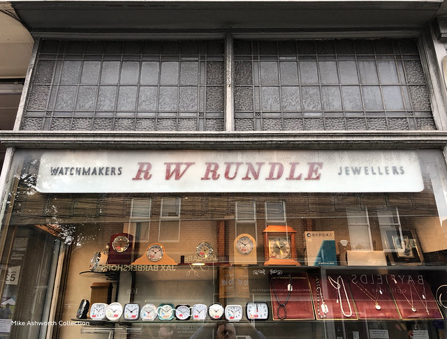 R W Rundle - shop front window and sign, Headingley, Leeds, West Yorkshire