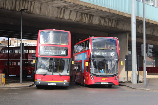 RedRoutemaster.com PVL286, PJ02RCX & Blue Triangle EH160, YW17JVO - Route 115   Canning Town Roundabout