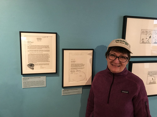 Laura at the Charles M. Schulz Museum's Peace, Love, and Woodstock exhibit