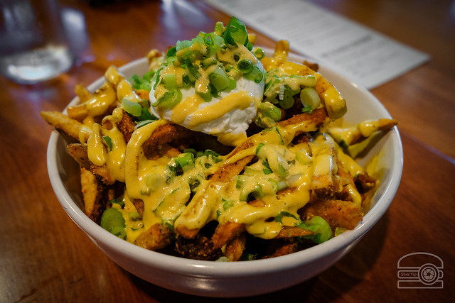 Ramen Fries – ramen spice, green onions, kimchi aioli, poached egg - Sargasso