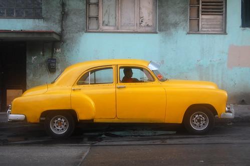 Yellow old car,Havana,Cuba
